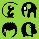 Monkey, elephant, crocodile, hippo logos or icons Royalty Free Stock Image