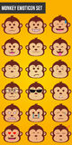 18 Monkey Emoticon Set stock illustration