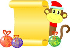 A monkey with an empty scroll. Congratulation of happy new year Royalty Free Stock Images