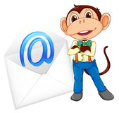 Monkey and evelope Royalty Free Stock Photo