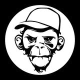 Monkey face black and white. Royalty Free Stock Image