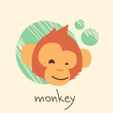 Monkey Face Cartoon Head Drawing Flat Royalty Free Stock Photography