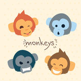 Monkey Face Cartoon Head Set Emotion Collection Stock Image