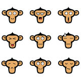 Monkey Face Expressions Set. Monkey Face Expressions Vector Set Royalty Free Stock Image