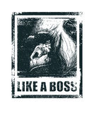 Monkey Face With Like A Boss Inscription Royalty Free Stock Images