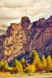 Monkey Face rock formation at Smith Rock State Park in Central Oregon stock photo