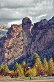 Monkey Face rock formation at Smith Rock State Park in Central Oregon. Monkey Face is a rock formation at Smith Rock State Park in Oregon iwhich is known for its stock photography