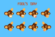 Monkey Face Set Emotion Fool Day April Holiday. Collection Flat Vector Illustration Royalty Free Stock Photography