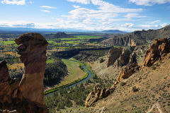 Monkey face, Smith Rock Park. View of Monkey Face from the top of Misery Ridge, Smith Rock Park, Oregon Stock Images
