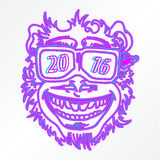 Monkey face 2016. Monkey symbol of the year. Monkey smiles, with a pencil in his nose and stick in the ear. Since 2016 the number of glasses. The blue and purple Royalty Free Stock Photo