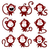 Monkey faces. Illustration of monkey character in a different emotional states Stock Image