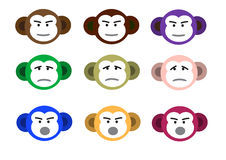 Monkey faces Stock Image