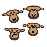 Monkey faces,  illustration logo or icon design. Cute monkey faces,  illustration logo or icon design Stock Images