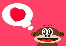 Monkey falling love Royalty Free Stock Images