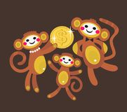 Monkey family with dollar. Stock Image