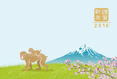Monkey family in mt. Fuji -Japanese new year card. Japanese 2016 new year card design Royalty Free Stock Photography