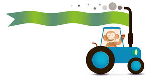 Monkey farmer. On the tractor with flag for greeting inscriptions, captions, headings, headlines, etc Stock Photography