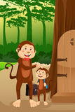 Monkey father with his child Royalty Free Stock Images