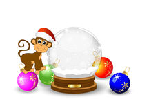 Monkey festive glass ball. Vector illustration Stock Photo