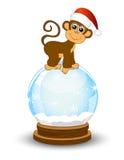 Monkey festive glass ball. Vector illustration Stock Photos