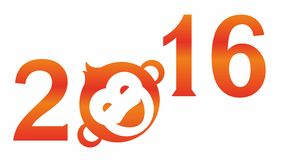 Monkey, 2016, fiery, red. Red, fiery lettering, numbers 2016, the laughing monkey icon. Logo Royalty Free Stock Photos