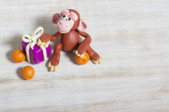 Monkey figure from plasticine. The figure symbolizes New 2016 and can be used as a card Royalty Free Stock Photography