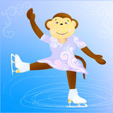 Monkey figure skater. The main symbol of this vector  illustration is Monkey-figure skater.  Monkey's dressed in light violet suit with ornament.  Background of Stock Image