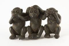 Monkey figures. Meaning - do not hear, do not speak, do not see Stock Photos