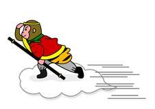 Monkey flying on a cloud Stock Photos
