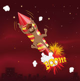 Monkey flying on fireworks Stock Photos