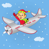 Monkey flying on the plane Royalty Free Stock Images