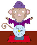 Monkey the fortune teller. A fortune teller monkey with a crystal ball Royalty Free Stock Photo