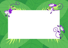 Monkey frame with leaves. Funny frame with three cartoon monkeys and green leaves vector illustration