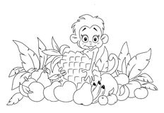 Monkey and fruit. Monkey and a lot of tropical fruit coloring page Stock Photography