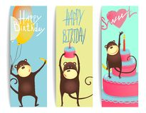 Monkey Fun Cards with Birthday Lettering Royalty Free Stock Photography