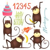 Monkey Fun Cartoon in Poses with Birthday Royalty Free Stock Photo