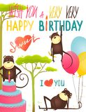 Monkey Fun Happy Birthday Card with Lettering Royalty Free Stock Photography
