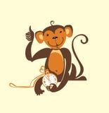 Monkey fun to clock. Royalty Free Stock Photo