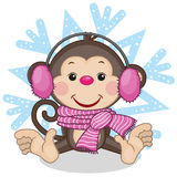 Monkey in a fur headphones Stock Photography