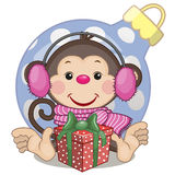Monkey in a fur headphones. With gift stock illustration