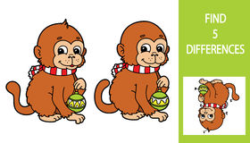 Monkey game. Vector illustration of finding differences game with cute cartoon monkey for children Royalty Free Stock Photos