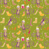 Monkey with gifts pattern Royalty Free Stock Image