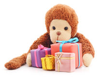 Monkey with gifts. Royalty Free Stock Photo