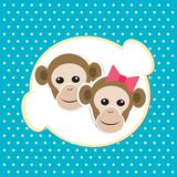 Monkey girl and boy in love Stock Photos