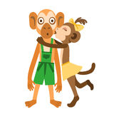Monkey girl kiss Royalty Free Stock Photography