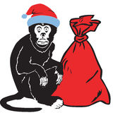 Monkey gives gifts at Christmas and New Year Stock Images