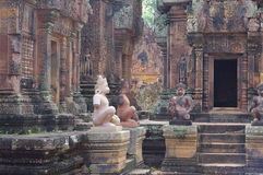 Monkey god guards at Banteay Srei Royalty Free Stock Photos