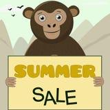 Monkey gráficos bonitos dos personagens de banda desenhada bonitos dos gráficos do t-shirt para a venda das crianças ilustração royalty free