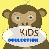 Monkey gráficos bonitos dos personagens de banda desenhada bonitos dos gráficos do t-shirt para a venda das crianças ilustração stock