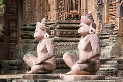 Monkey Guardian statues, Angkor. A pair of Monkey headed guardians at the front of a prasat, or chapel, at Banteay Srei Temple, Angkor, Cambodia.  Over 1000 Stock Photos